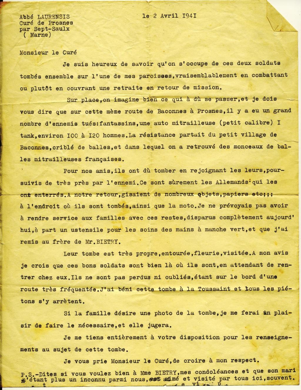 """10e GRCA : Marcel BIETRY """"Mort pour la France"""" 12/06/1940 Lettre10"""