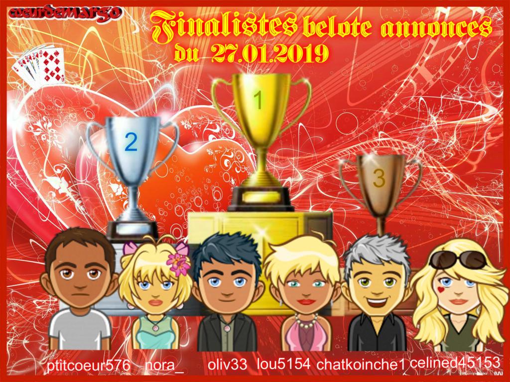 TOURNOI DE BELOTE ANNONCES  27/01/2019 Podium13