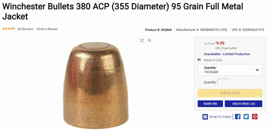 All Sold - Winchester 95gr 0.355 FMJ bullets 95fmj10