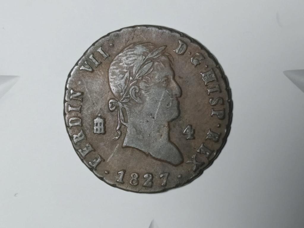 4 Maravedís 1827. Fernando VII. Segovia. 01_anv10