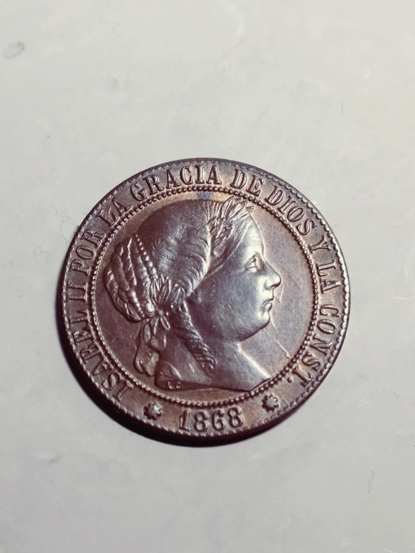 1 céntimo de escudo 1868. Isabel II. Barcelona. ¿Cobre o bronce? 01_anv26