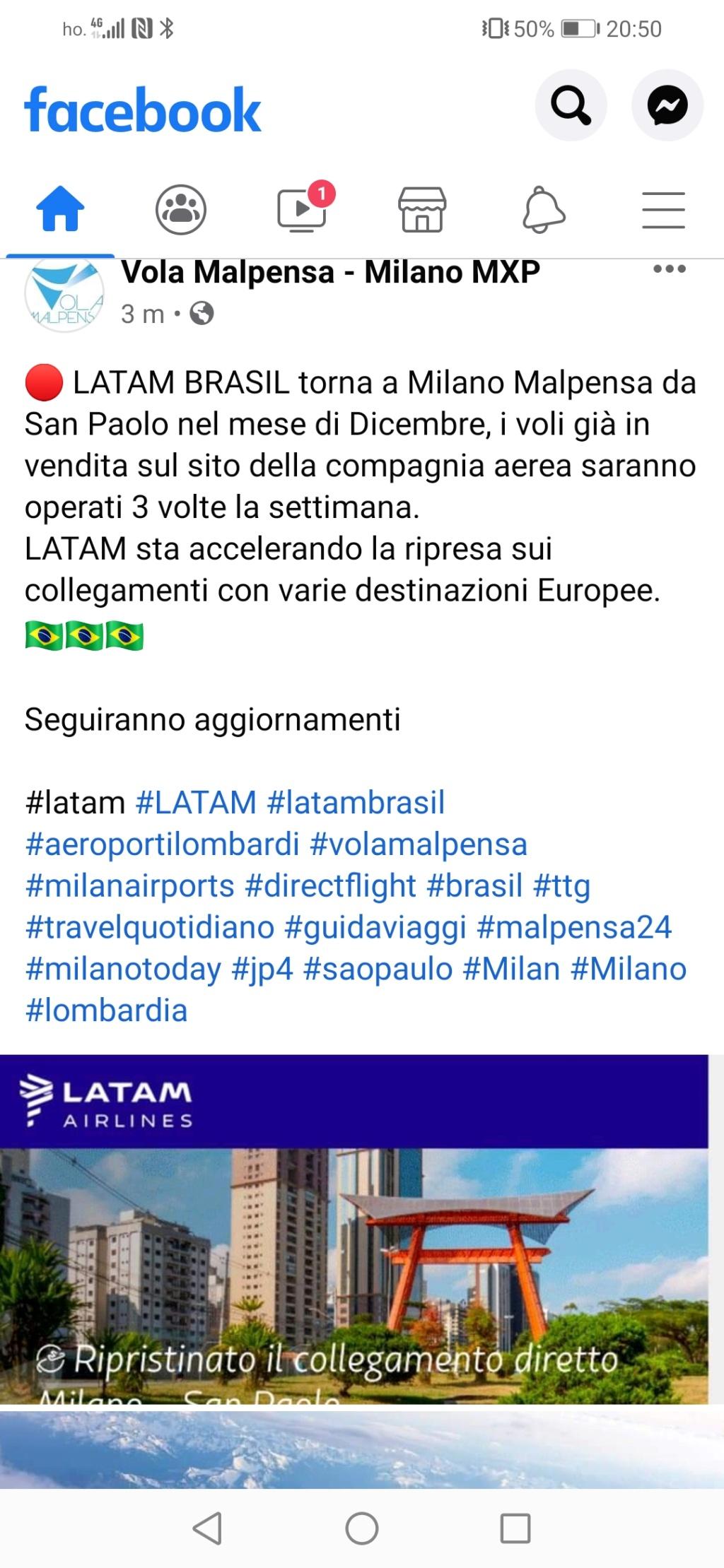 Latam riprende il volo sull'Italia (Milano)  Screen16