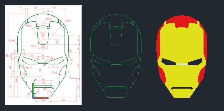 [練習]AutoCAD 2D實務幾何繪製-鋼鐵人 Su0110