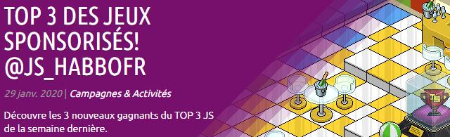 Jeux sponsorisés : Gagnants du 20 au 26 janvier 2020 Webpro12