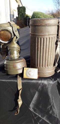 Masques gaz allemand boitier Gris et boucle ww1 20201223