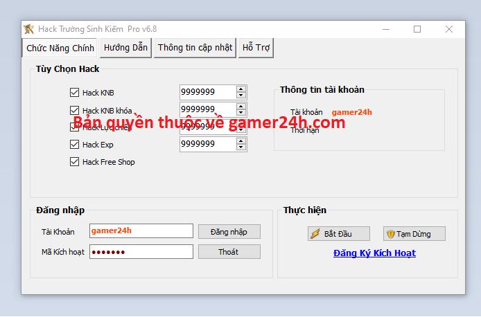 Hack Trường Sinh Kiếm miễn phí Truong10