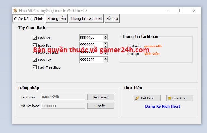Hack Võ lâm truyền kỳ mobile VNG Volamt10