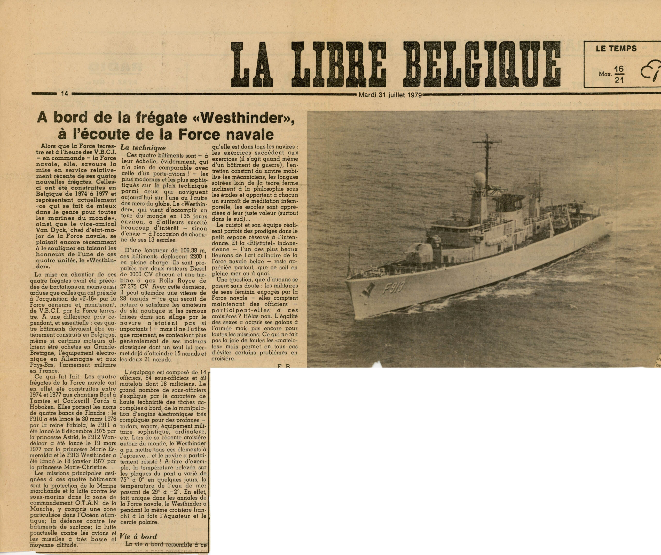 article de journal voyage Westhinder 1979 Articl11