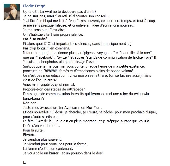 Messages d'Elodie Frégé sur Facebook (de Août 2013 à Avril 2014) 34433110