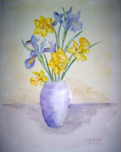 Iris et jonquille( aquarelle) Jonqui10