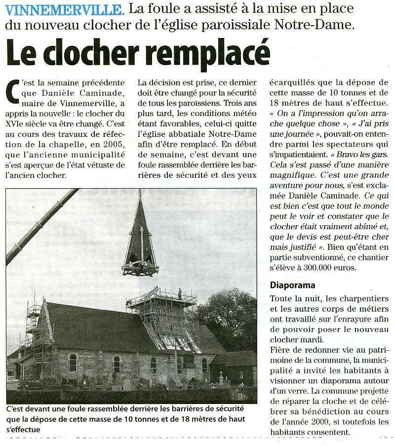 Vinnemerville remplace son clocher du XVIè siècle Vinnem10