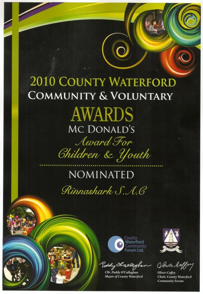 Community & Voluntary Rinnashark sac Nominated Awards10