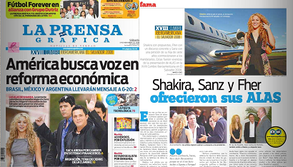 """SCANS DE """"LA PRENSA GRAFICA"""" DE EL SALVADOR: SHAKIRA, SANZ Y FHER OFRECIERON SUS ALAS Prensa10"""
