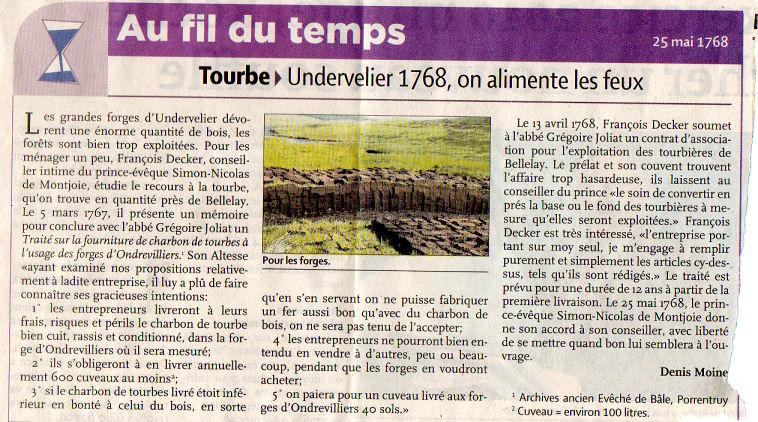 Journal Quotidien jurassien - 03/02/2011 - Tourbe, Undervelier 1768, on alimente les feux Quot_j10