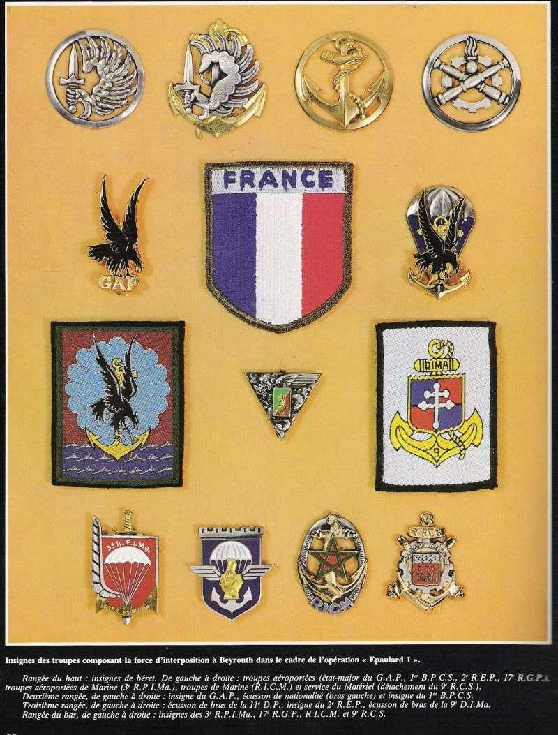 insignes des troupes composant la force à beyrouth Numar107