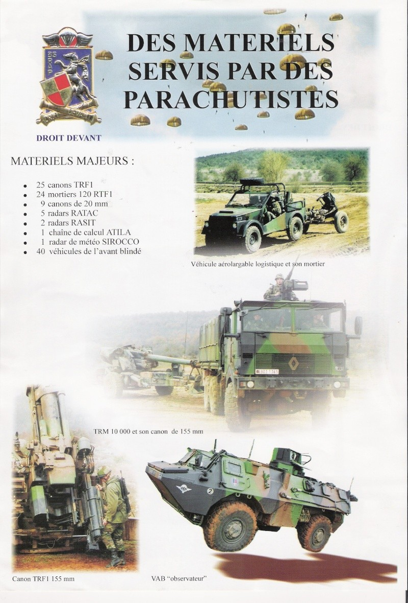 des matériels servis par des parachutistes du 35éme rap Numari84
