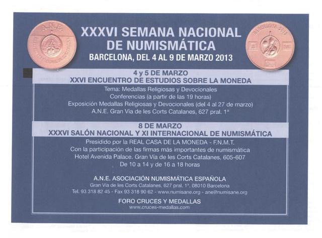 """""""Cruces y Medallas"""" Organizador y Colaborador de la XXXVI SEMANA NACIONAL DE NUMISMÁTICA Revist13"""