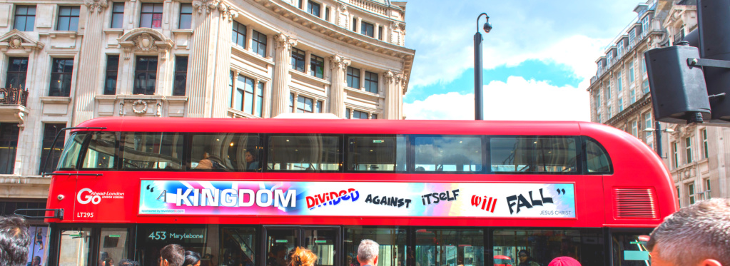 "HOWARD CONDOR The Revelation TV Bus Campaign ""QUOTE JESUS"" TALK GOD  Bus2je10"
