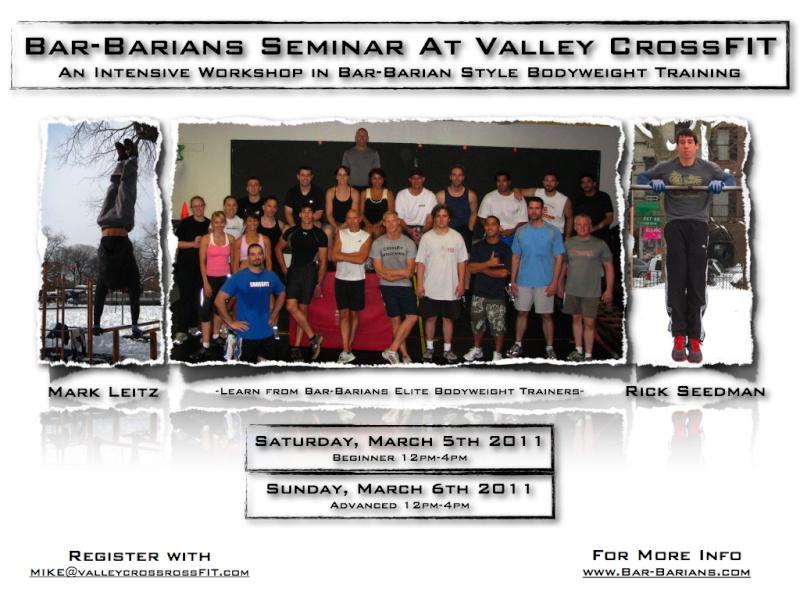 2nd Bar-barians Seminar at Valley CrossFIT Flyer113