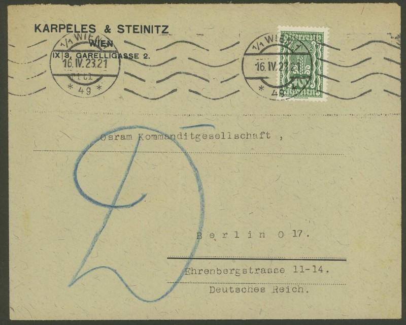 Inflation in Österreich - Belege - 1918 bis 1925 386a_110