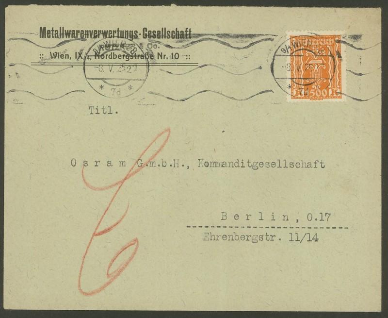 Inflation in Österreich - Belege - 1918 bis 1925 393_0810