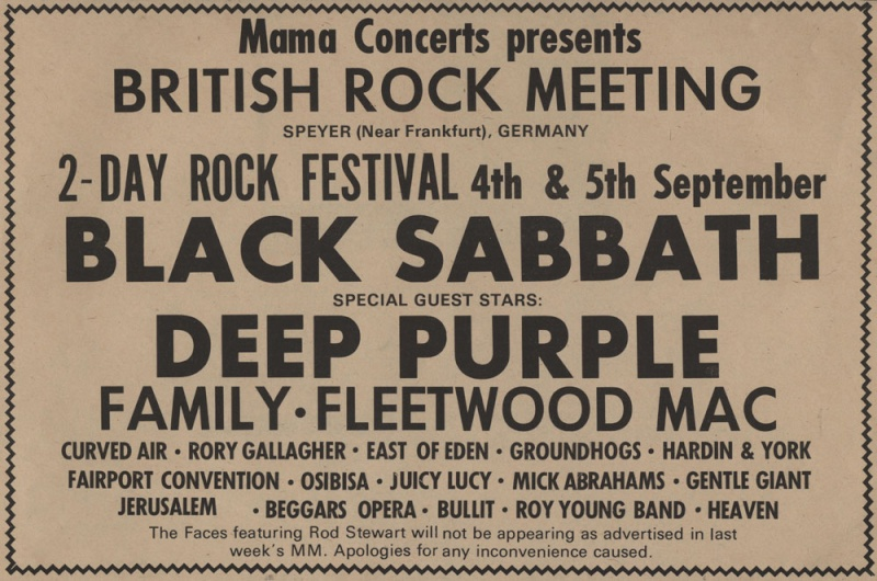 1st British Rockmeeting - Speyer, Allemagne, 4 septembre 1971 Advert10