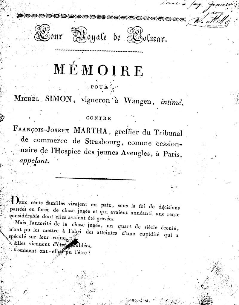 Mémoire d'un procès qui fit couler beaucoup de vin...à Wangen Numari20