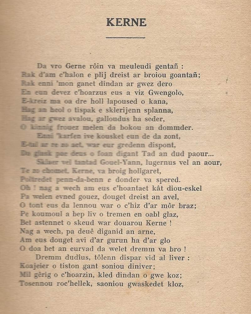 Lennadennoù : Gwimilio/.../ Kerné (Toussaint ar Garrec)/O Breizh ma Bro/ Pleyben, va farrez ! Kerne_10