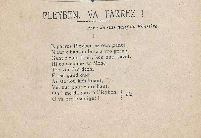 Lennadennoù : Gwimilio/.../ Kerné (Toussaint ar Garrec)/O Breizh ma Bro/ Pleyben, va farrez ! Pleybe10