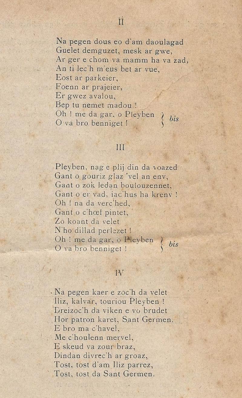 Lennadennoù : Gwimilio/.../ Kerné (Toussaint ar Garrec)/O Breizh ma Bro/ Pleyben, va farrez ! Pleybe11