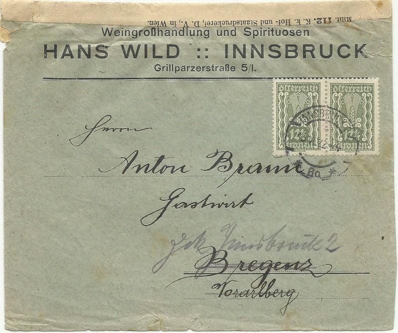 Buchprojekt HILFE - Stempel aus Innsbruck auf Belegen gesucht 19220610