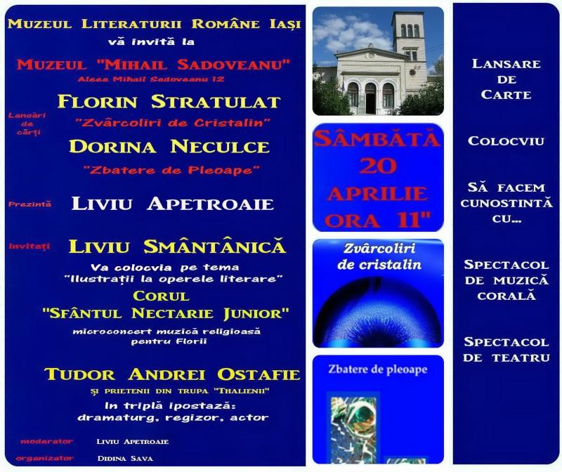 """Lansare """"Zvârcoliri de Cristalin""""- Florin Stratulat şi """"Zbatere de pleoape""""- Dorina Neculce- 20 aprilie 2013  Afis_212"""