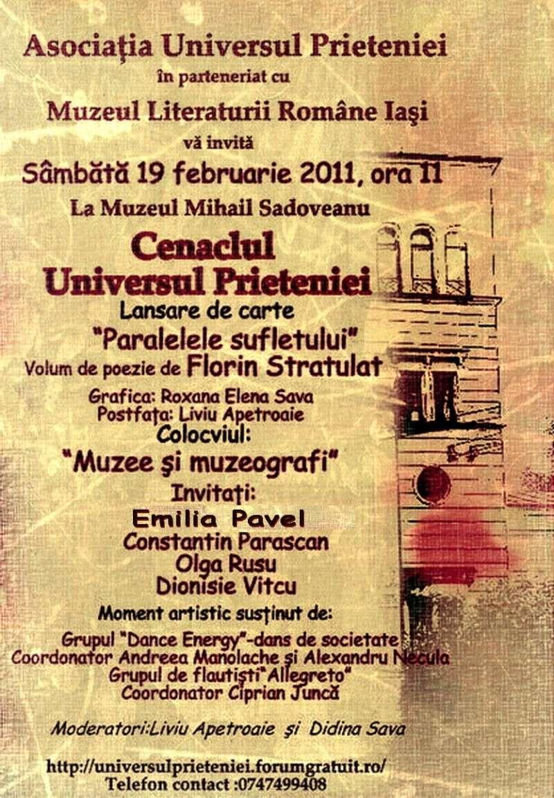 """19 februarie 2011-Sedinta a X-a Cenaclului U.P.-lansare de carte-""""Paralelele Sufletului""""-Florin Stratulat Afis_f11"""