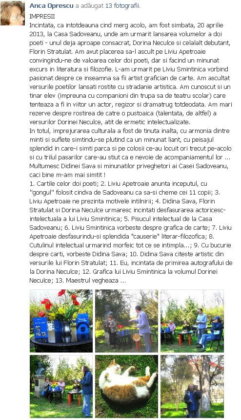 """Lansare """"Zvârcoliri de Cristalin""""- Florin Stratulat şi """"Zbatere de pleoape""""- Dorina Neculce- 20 aprilie 2013  Clip_111"""