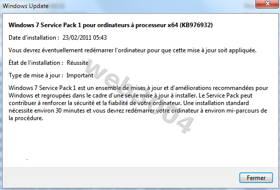 Installez le pack SP1 pour Windows 7 Blop10