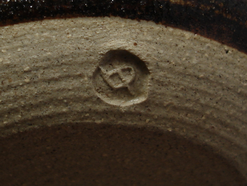 Studio pottery, covered jar with tree or leaf pattern; mystery bp mark Dsc07120