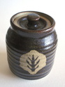 Studio pottery, covered jar with tree or leaf pattern; mystery bp mark Dsc07119