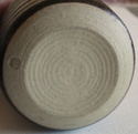 Studio pottery, covered jar with tree or leaf pattern; mystery bp mark Dsc07121