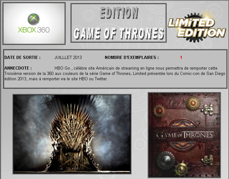 XBOX 360 : Edition GAME OF THRONES Game_t10