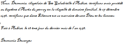 Baptême d'Auréa du Perray (27 décembre 1458) Captur10