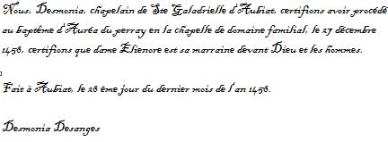 Baptême d'auréa du perray (27 décembre 1458) Captur11