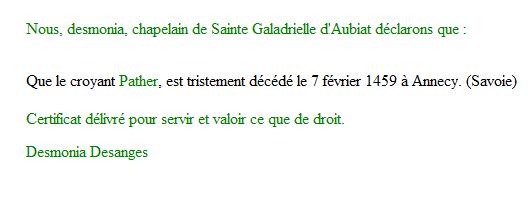 Certificat de décès de Pather (février 1459) Certif11