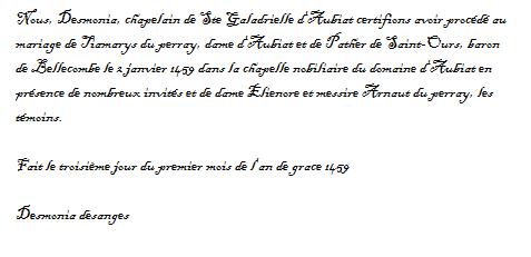 Mariage du baron pather et de Dame Tiamarys (2 janvier 1459) - Page 2 Cetifi10