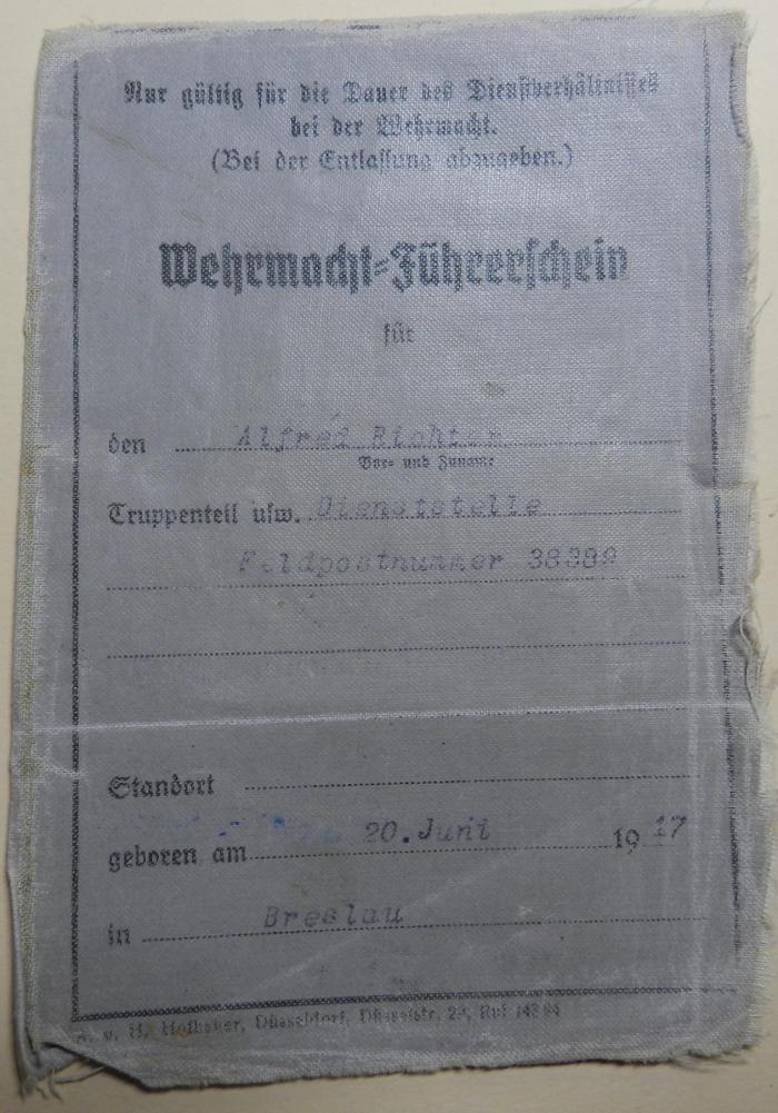Le permis conduire dans la Wehrmacht 1491610