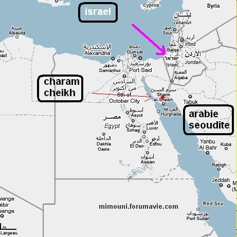 Voyage  Egypte - Moubarak: 1pied en Egypte, 1 pied en Israel  Map10