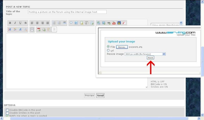 How to post pictures to the forum using the internal image host Host_i10
