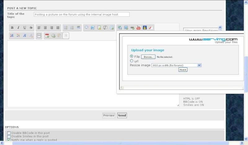 How to post pictures to the forum using the internal image host Upload10