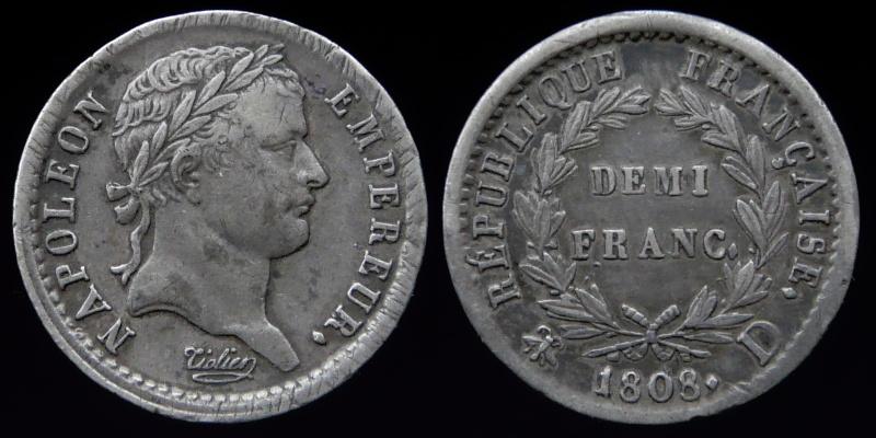 Demi-franc Napoléon Ier 1808 D. 0125-510