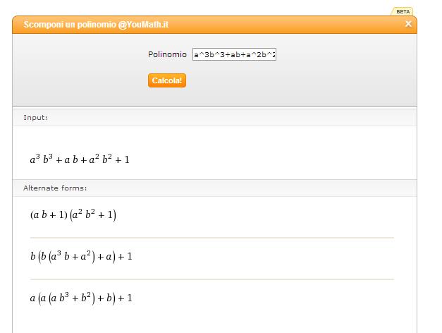 Risolvere scomposizione di polinomi facilmente online - YouMath 1177ot10
