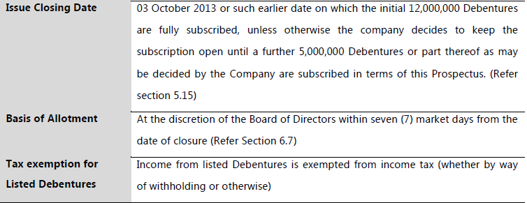 Alliance Finance Debenture Issue at a glance All1410